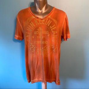 Men's Calvin Klein orange v-neck  t-shirt